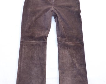 Vintage Brown 100% Real Leather - Suede  BETTY BARCLAY Bootcut Ladies Women's Jeans Trousers Pants W 31 L 32 Festival
