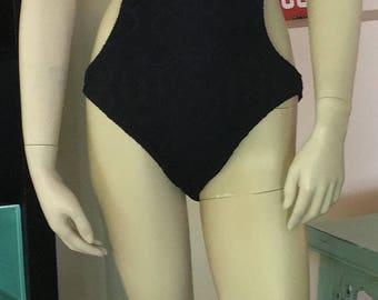 Ralph Lauren Swimsuit Black Halter Top Lace One Piece Bathing Suit Size Large