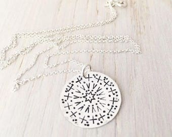 mandala necklace, boho inspirational gift for her, hand stamped mandala design, bohemian hippie jewelry, malisay designs READY TO SHIP
