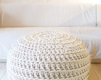 Super Giant Pouf Crochet - Thick Cotton - Ecru