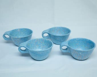 Set of 5 Vintage 1960's Melamine Cups & Saucers — Teal Confetti — Russel Wright Design —Perfect Condition