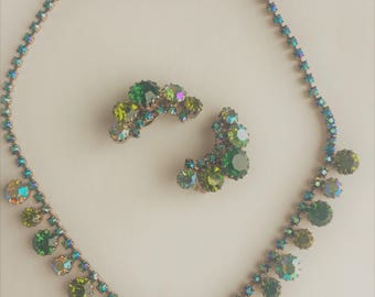 1950s Green Rhinestone Necklace & Clip Earrings with Aurora Borealis