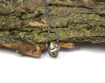 Genuine Herkimer Diamond Necklace in Oxidized Sterling Silver - Herkimer Diamond Jewelry - Raw Herkimer Necklace - Imperfect Beauty C