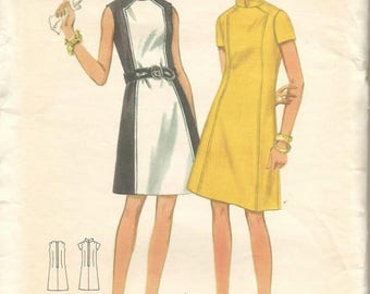 1960s A-Line Color Block Mondrian Dress Stand Up Collar or Jewel Neck Butterick 4795 Uncut FF Size 16 Bust 38 Women's Vintage Sewing Pattern