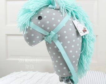 Handmade Child's Stick Horse, Classic Mint and Grey Polka Dot Hobby Horse Ride-On Toy, Ready to Ship