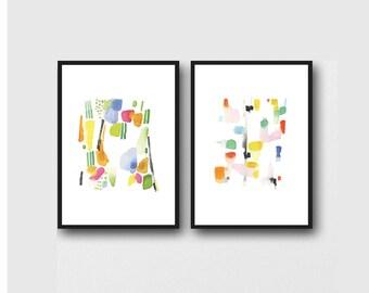 Set of 2 prints, Minimalist Wall Art, Colorful Watercolor Paintings, Abstract Watercolor Art prints