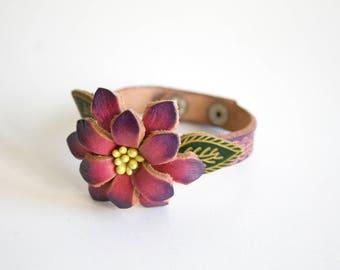 Handmade Leather Flower Bracelet