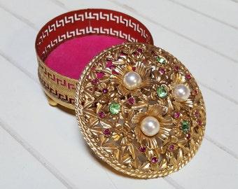 Florenza Trinket Box Filigree Rhinestones Pearls - Oak Hill Vintage