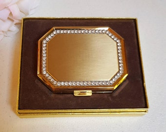 Vintage Avon Compact, Rhinestones with Brushed Gold Tone - Oak Hill Vintage