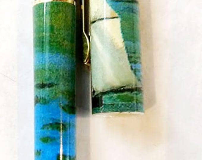 New! Monet Impressionist Boat Design Rollerball Pen. Great gift for men, women, boaters!