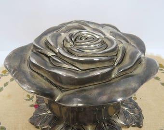 Silver Rose Jewelry Box, Godinger Silver Art Co., Wedding, Valentine's Day, Mother's Day Gift, Trinkets & Keepsakes Box