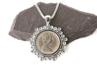 1968 Australian Coin Necklace, 50th Birthday Necklace, 1968 Birthday, Coin Jewellery, Queen Elizabeth Necklace, UK Seller