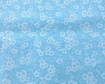 Dainty Blue and White Floral Print Cotton Fabric 1 3/4 Yards X0895