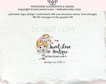 1246-3  girl business logo, doll logo, sweet girl, kids business, children boutique , fashion, hand bag, hand craft, logo watermark