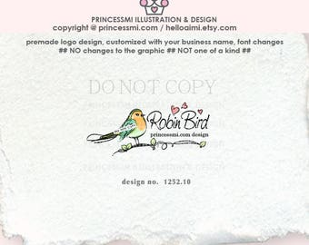 1252-10 Robin logo, bird logo, robin bird , Boutique logo, Photography logo, robin design watermark , child business, kids business