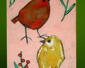 "two birds ""berry birds"" colorful painting original a2n2koon mixed media pair of birds wall art on reclaimed wood berries leaves flora pink"