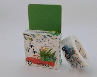 Plants & vehicles truck car tractor washi tape for calendar planner scrapbook journal craft swap package organize stationery - Lillibon