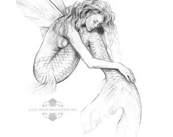 8x10 inch PRINT Mermaid's Drift Flying Fish Mermaid with Fairy Wings Art Graphite Pencil Drawing Black and White Signed