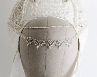 Ready to Ship Miyu Decay OOAK White Brocade Kokoshnik Headdress
