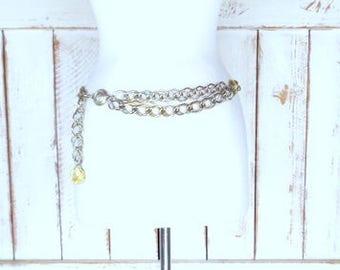 Vintage gold metal link chain medallion statement belt/gold double link chain hip belt
