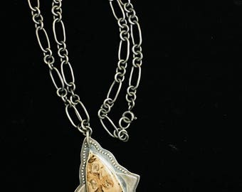 Handmade Sterling Silver Chain Necklace with Petrified Wood Pendant