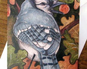 Bluejay and Acorn Greeting Card