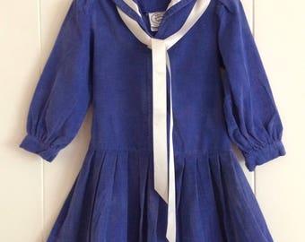 Sailor dress, Laura Ashley, corduroy, fall/ winter. 3-4 years, birthday party, portrait dress