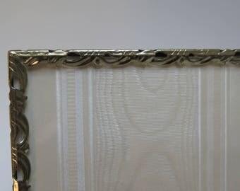 Ornate 5 x 7 scalloped Filigree Brass Picture Frame easel back