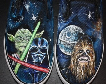 STAR WARS handpainted SHOES  Any size Men Women Chubaka Yoda Darth Death Star