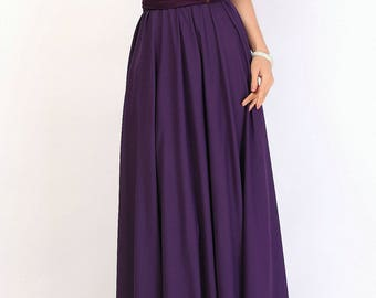 Long Eggplant chiffon skirt, maxi skirt