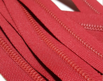 Heavy Duty Zippers--22 inch, Lot of Two (2) pieces  in Deep Red