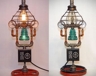 "26"" Steampunk Industrial Pipe Lamp: Dimmer, night light, USB charging, AC outlets, pressure gauges, iron & copper pipes, glass insulator"