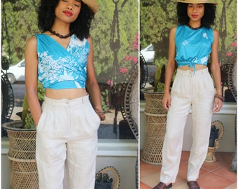 70's Vintage Wraparound Tropical Print Crop Top - Size Small/Medium - Hawaiian