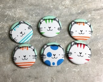 Cat Magnets - Colorful Tabby Cats - Set of 6- Refrigerator Magnets - Office Decor