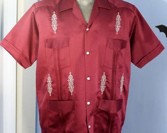 vintage 90s burgundy satin guayabera shirt mens xl raugo classics embroidered mexican wedding shirt