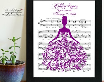 Quinceanera, Sweet Sixteen, Song Music Art Gift Print ~ Customize Personalize with Color, Name and Date