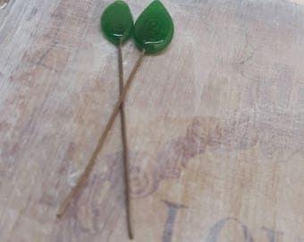 2 clous en verre de Murano filé à la flamme, feuilles vert , SAHP22
