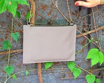 Mini crossbody bag, vegan clutch leather chain bag, small leather crossbody bag, gray leather shoulder bag purse, grey small shoulder bag