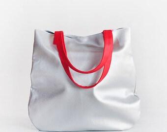 Vegan shopper bag silver, large tote bags for women tote bag vegan leather, cruelty free bag tote minimalist, vegan hobo bag Christmas gift