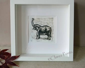 Elephant Art Print Limited Edition Hand-Pulled Collograph