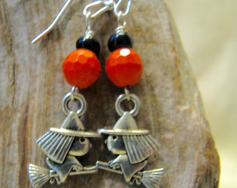 halloween little witches silver dangle earrings