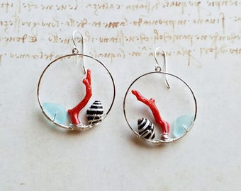 Bright Seashell Hoops, Red Aqua Hoop Earrings, Aqua Beach Glass Hoop Earrings:  Ready to Ship