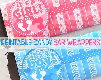 It's a Girl & It's a Boy SHOWER FAVORS, Candy Bar Wrappers, Gender Reveal Idea, Baby Girl Baby Boy PRINTABLES - Instant Download