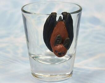Hand Sculpted Leaf-nosed bat 1.5 oz Shotglass