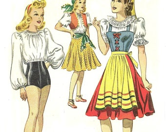 1940's Dance Costume Pattern Unused Bust 30 Tap Dance Gypsy Italian McCall 792 Size 12 FF