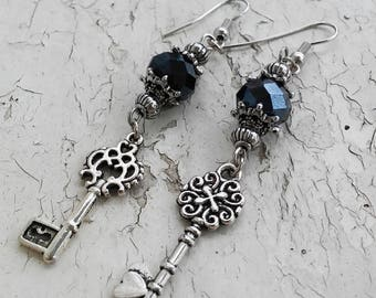 Skeleton Key Mix Matched Dangle Earrings