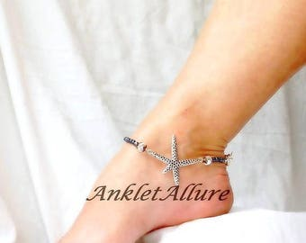 Anklet Starfish Anklet Beach Creature Ankle Bracelet Anklet for Women Blue Anklet