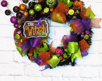 Halloween Wreath, Halloween Decor, The Witch Is In Wreath, Witch Wreath, Holiday Wreath, Fall Wreath, Fall Decor