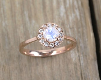 Moonstone Engagement Ring, Moonstone Antique Rose Gold Ring, Vintage Ring, Rainbow Moonstone Halo Ring, Anniversary Promise Ring, Boho ring