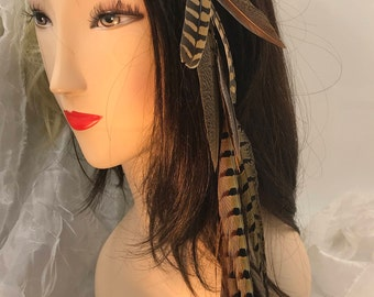 Feather hair extensions etsy dangling natural feather hair clip tail feather hair extension long tribal hair accessory pmusecretfo Images